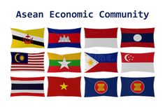 rendering of ASEAN country flags and AEC flag isolated vector illustration Community Logo, 3d Rendering, Archipelago, Brunei, Flags, Asian, Country, Illustration, Rural Area