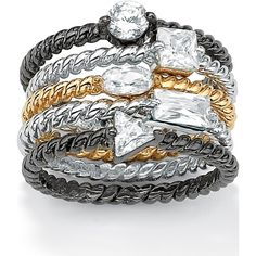 Palmbeach Jewelry 1.58 Tcw Round Cubic Zirconia Tritone Ribbed... ($71) ❤ liked on Polyvore featuring jewelry, rings, white, cocktail ring, 18k ring, cz band ring, cubic zirconia cocktail rings and emerald cut cocktail ring