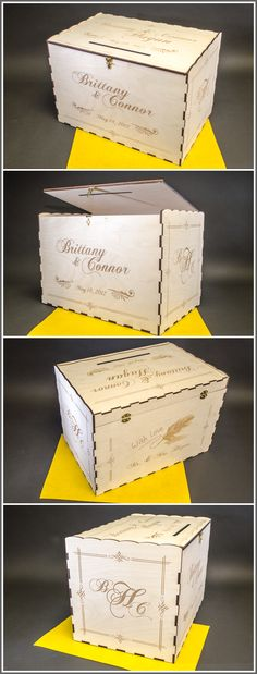 My wooden #Wedding Card Boxes are a great addition to your gift table. Personalized by Laser Engraving - I make 4 different styles. I can engrave Names, Dates, Poems, Sayings, Verses, Graphics or Photos. I look forward to collaborating with you for a CARD BOX or Money Box. Prices start at $109 plus shipping (USA only). Let's begin a conversation...
