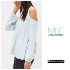 OUR PICK OF THE DAY TODAY! #dressmingle #lotd #coldshoulder #mint #blouse