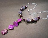Purple Shell and Bead Sterling Necklace