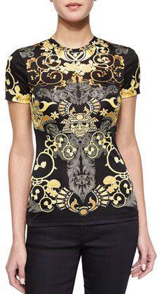 Versace Collection Scroll-Print Short-Sleeve T-Shirt, Black/Gold