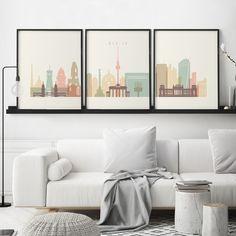 Berlin Skyline, Skyline Art, Liverpool Skyline, 3 Piece Wall Art, Wall Art Sets, Wall Art Prints, World Map Poster, World Map Art, Map Posters
