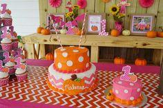 Amanda M's Birthday / Pumpkins / Fall / Birthday - Makenna's Pumpkin Patch ~ Birthday Party at Catch My Party Fall 1st Birthdays, Pumpkin 1st Birthdays, Pumpkin Birthday Parties, Halloween Birthday, Pumpkin Patch Birthday, Pumpkin Patch Party, Pumpkin First Birthday, Pumpkin Patches, Girl Birthday Themes