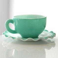 Love the color & perfect for LARGE morning coffee!! Hazel Atlas Crinoline cup and saucer