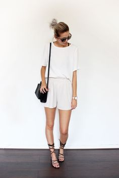 Pair white shorts with a white tee for a head-to-toe monochromatic look this spring. Let Daily Dress Me help you find the perfect outfit for whatever the weather! dailydressme.com/