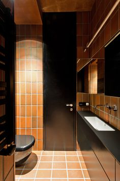 Terracotta-toned tiles divide Vilnius apartment into two contrasting halves White Wooden Floor, Journal Du Design, Contemporary Bathroom Designs, Interior Decorating, Interior Design, Studio Interior, Small Studio, Small Apartments, Small Spaces