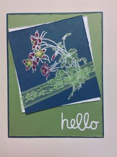 Hello. Technique Tuesday's Columbine stamped w VersaMark & embossed w white powder. Bleached and colored w chalk. Technique Tuesday hello die.