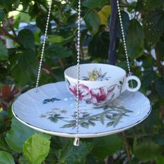 Teacup Bird Feeder vintage butterfly yellow burgundy floral china repurposed shabby chic