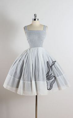 ➳ vintage 1950s dress  * sheer white chiffon over  black & white gingham print cotton * bow accent on lower skirt * metal back zipper * by Jr.