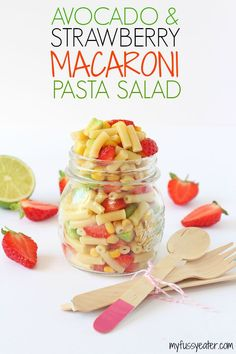 A delicious combination of avocado and strawberry makes this macaroni salad recipe the perfect summer meal and great for kids! | via @CiaraAttwell