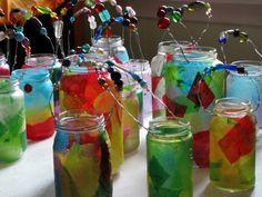 Glass jar Lanterns for a Winter Solstice parade.
