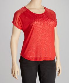 Take a look at this Punch Paisley Burnout Top - Plus by Seven7 on #zulily today!