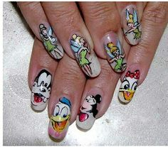 Disney nail Art, Disney Nail Art Transfers, Cartoon nail art are loved by everyone especially children. 16 Disney Nail Art designs to impress your child. Disney Nail Designs, Toe Nail Designs, Nail Polish Designs, Patrick Nagel, Cute Nail Art, Cute Nails, Mickey Mouse Nail Design, Minnie Mouse, Spring Nail Trends