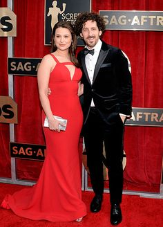 SAG Awards 2016 - Katie Lowes and Adam Shapiro Red Carpet 2016, Sag Awards, Dress Red, Lowes, Actors, Formal Dresses, Fashion, Red Gown Dress, Dresses For Formal