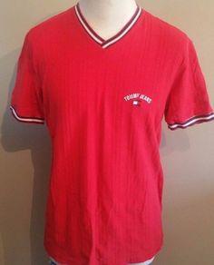 Men's Vintage Tommy Hilfiger Tommy Jeans V Neck Red Shirt  #TommyHilfiger #VNeck