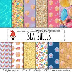 "New to SandraGraphicDesign on Etsy: Sea shells digital paper: ""SEA SHELLS"" with happy colored papers with shell patterns for card making scrapbooking (1182) (4.00 USD)"