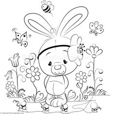 Cute Rabbit 8 Coloring Pages Garden Coloring Pages, Unicorn Coloring Pages, Adult Coloring Book Pages, Cute Coloring Pages, Flower Coloring Pages, Disney Coloring Pages, Animal Coloring Pages, Free Printable Coloring Pages, Coloring Sheets
