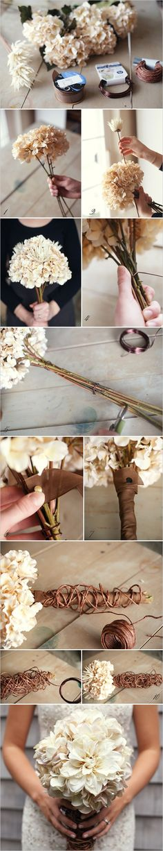 Unas flores secas, un rollo de 'floral tape' marrón, un poco de alambre color oro viejo y un rollo de alambre forrado de papel marrón... Para un precioso resultado como el que vemos aqui.
