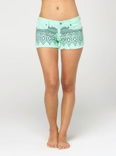 Roxy Carnivals Embroidered Shorts diying with puffy paint this summer!