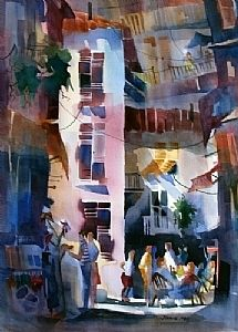 """Filling in the hours between lunch and dinner by Jinnie May Watercolor ~ 28"""" x 20"""""""