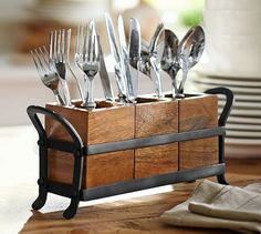 Vintage Blacksmith Flatware Caddy At Pottery Barn - Tabletop - Kitchen Accessori. - Vintage Blacksmith Flatware Caddy At Pottery Barn – Tabletop – Kitchen Accessories – - Cutlery Caddy, Cutlery Holder, Utensil Organizer, Wood Napkin Holder, Cutlery Storage, Kitchen Organization, Kitchen Storage, Kitchen Decor, Pottery Barn Kitchen