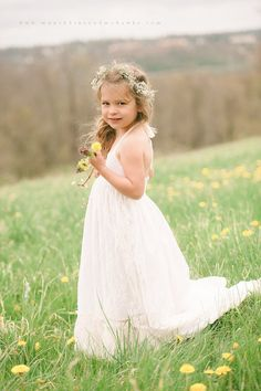 Lace Flower Girl Dress WITH TRAIN Girls Lace by FlowerGirlsCouture, $165.00
