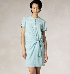 New dress sewing pattern from DKNY for Vogue Patterns. Misses' Tie-Front Shirtdress and Slip Vogue Dress Patterns, Dress Making Patterns, Vogue Sewing Patterns, Dress Skirt, Shirt Dress, Fashion Sewing, Couture, New Dress, Dresses For Work