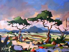 . South African Art, Illustration Art, Illustrations, Alcohol Inks, Landscape Art, Painting Inspiration, Landscapes, Trees, Rug