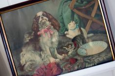 Vintage picture of dogs and cats