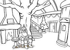 Le Père Noël devant la cheminée - Coloriage de Noël à imprimer