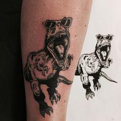 Stylish T-Rex Tattoo - http://www.tattooideas1.org/placement/calf/stylish-t-rex-tattoo/