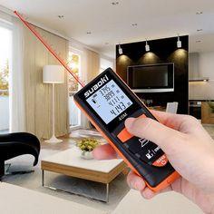 Amazon.com: Suaoki D8 131.24FT/ 40M Smart Digital Distance Laser Metre, 4'' Backlit LCD Screen, Single-distance Measurement/ Continuous Measurement/ Area/ Pythagorean Modes, Orange: Home Improvement