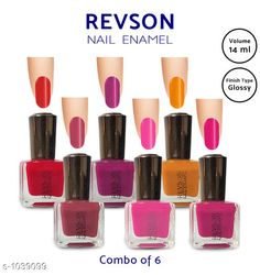Nails  Premium Glossy Nail Polish(Pack of 6)  *Product Name* Revson Nail Polish  *Product  Type* Nail Polish  *Brand Name* Revson  *Capacity* 14 ml  *Shade* Multicolour  *Finish Type* Glossy  *Applicator * Brush  *Package Contains* It Has 6 Pack of Nail Polish  *Sizes Available* Free Size *   Catalog Rating: ★4 (6058)  Catalog Name: Nail Polish Revson Premium Glossy Nail Polish Combo Vol 1 CatalogID_125966 C51-SC1244 Code: 631-1039099-