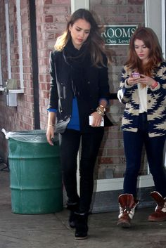 : Jessica brightened her all-black look with a cobalt sweater during the Sundance Film Festival in Utah.
