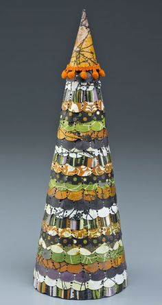 Halloween topiary--ruffled, scalloped and made out of paper!