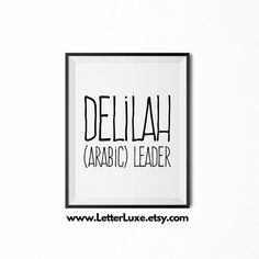 Delilah Name Meaning Art  Printable Baby by LetterLuxePrintables
