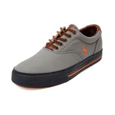 Shop for Mens Vaughn Casual Shoe by Polo Ralph Lauren  in Gray Orange at Journeys Shoes. Shop today for the hottest brands in mens shoes and womens shoes at Journeys.com.Simple, clean, and casual. The refined-style Polo Vaughn sports a canvas upper, leather lace closure, padded collar, Polo logo side stitch, and contrast rubber sole with stripe accent.