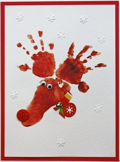 handprint reindeer card perfect for Christmas baby and Christmas cards Homemade Christmas Cards, Christmas Crafts For Kids, Christmas Activities, Kids Christmas, Homemade Cards, Handmade Christmas, Holiday Crafts, Reindeer Christmas, Hand Print Christmas Cards