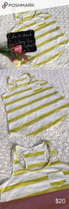 "Forever 21 striped lace tank Lime green and white lace striped tank by Forever 21. Size S. 16.5"" arm pit to arm pit. 23"" length. Forever 21 Tops Tank Tops"