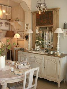 Buffet Style Louis XV Patiné Gris Perle Plateau Chêne Buffet - Salle a manger louis xv pour idees de deco de cuisine