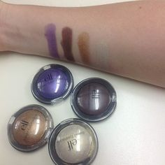 Swatches of our NEW Baked Eyeshadows in Passion Purple, Chocolate Dreams, Bronzed Beauty, and Moonlight Serenade!