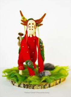 Guardian of Nature Boletus, deer soft sckulpture, Deer Art, felt decor, mushroom deer art, woodland, stone, fantasy creature by MrsOwlWorkshop on Etsy