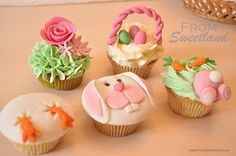 From Sweetland: CUPCAKES DE PASCUA Easter Bunny Cupcakes, Easter Cookies, Easter Treats, Deco Cupcake, Fondant Cupcake Toppers, Cupcake Cakes, Spring Cupcakes, Spring Treats, Holiday Snacks