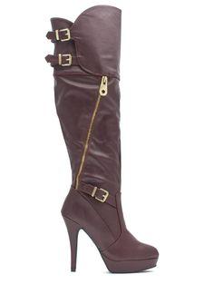 06563c6dd4c Zip Club Over-The-Knee Boots OXBLOOD BLACK IVORY - GoJane.com Combat