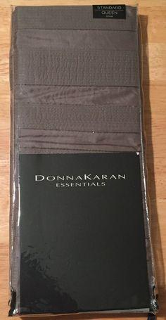 New Donna Karan Essentials City Stripe Standard Queen Pillow Sham Pewter DKNY #DonnaKaran