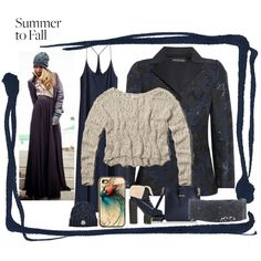 """Navy jacquard blazer with maxi dress - fall outfit"" by togildthelily on Polyvore.  Striking jacquard woven silk blazer with maxi dress and cute crocheted pullover sweater.  Matching iphone case."