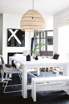 A Sandinavian-style home perfects the white on white look. Photography by Derek Swalwell. Styling by Rachel Vigor. From the August 2017 issue of Inside Out Magazine. Available from newsagents, Zinio, https://au.zinio.com/magazine/Inside-Out-/pr-500646627/cat-cat1680012#/ and Nook.