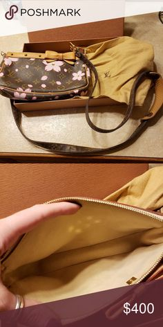 fa496399a452 Louis Vuitton pochette Like new LV pochette with pink flowers. Used twice.  I bought the strap separately. Louis Vuitton Bags Crossbody Bags   ...
