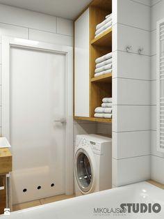 biała łazienka-drewniane akcenty - zdjęcie od MIKOŁAJSKAstudio - Łazienka - Styl Skandynawski - MIKOŁAJSKAstudio